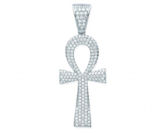 Silver Ankh Cross Key of Life 4cm Pave Set Cz Pendant 925 Sterling Silver