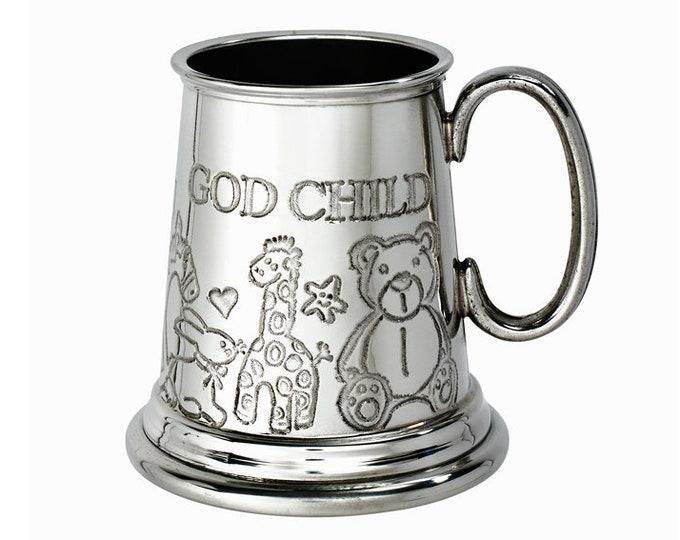 Personalised God Child Embossed Pewter Children's Mug Customised Engraved Message