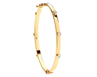9ct Yellow Gold Round Cz Stud 2.5mm Hinged Baby Bangle Hallmarked - Real 9K Gold