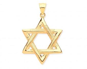 9ct Yellow Gold 1.9cm Embossed Pattern Star of David Pendant Hallmarked
