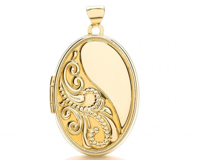 9ct Yellow Gold 2 Photo Oval Shaped Embossed Scroll Design Locket 25x20mm