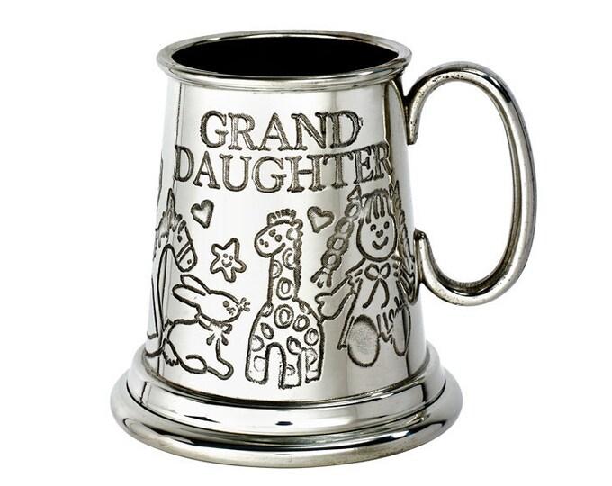 Personalised Grandaughter Embossed Pewter Childs Mug Customised Engraved Message