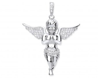 Guardian Angel Pendant 4cm With Micro Pave Set Cz Wings 925 Sterling Silver