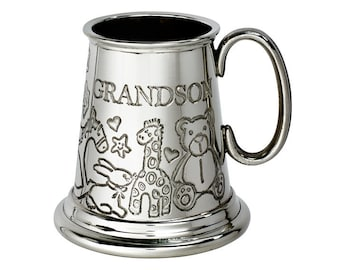 Personalised Grandson Embossed Pewter Childs Mug Customised Engraved Message