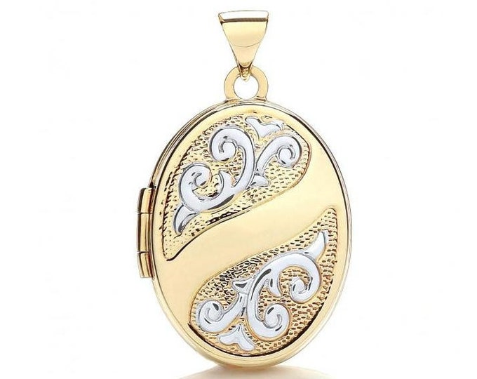 9ct 2 Colour Gold 2 Photo Oval Shaped Locket With Scroll Embossed Design