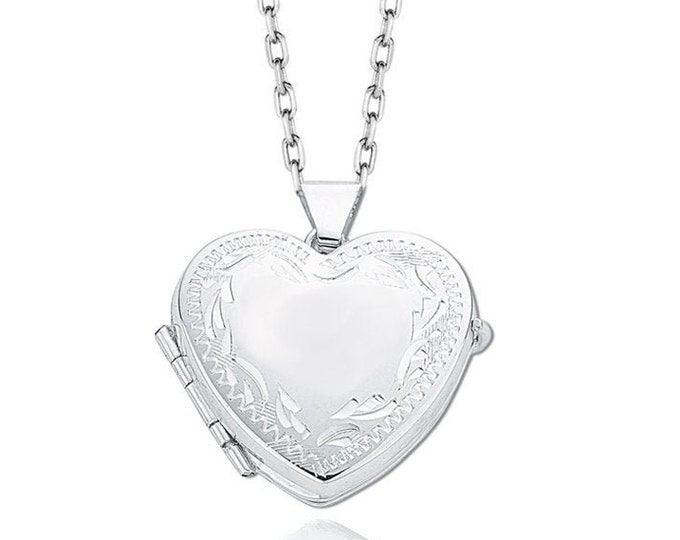 925 Sterling Silver Engraved Border 4 Photo Family Heart Locket
