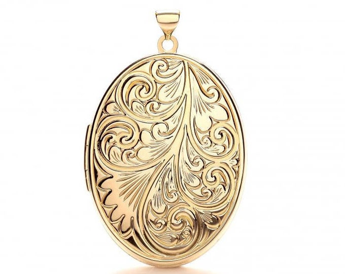 Large 9ct Yellow Gold Oval Shaped 2 Photo Locket With Full Embossed Scroll