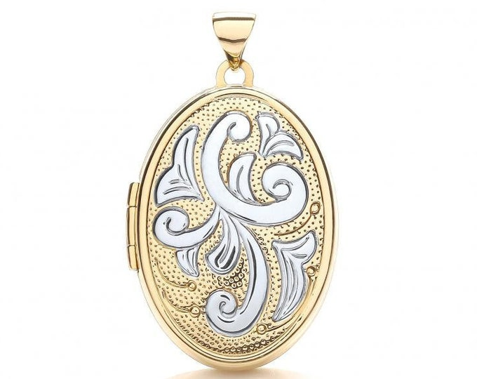 9ct 2 Colour Gold Oval Shaped 2 Photo Scroll Design Locket 25x20mm