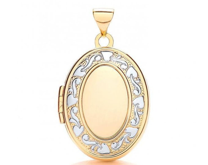 9ct Yellow & White Gold Ivy Wreath Oval Shaped 2 Photo Locket