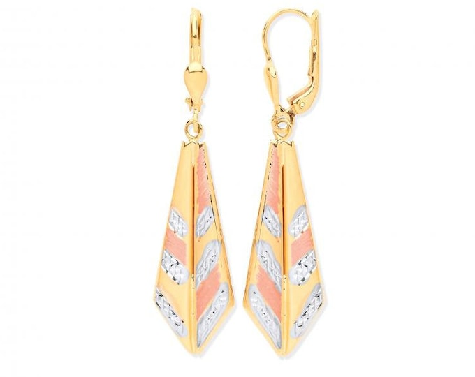 Modern 9ct 3 Colour Gold 4.5cm Geometric Feather Design Drop Earrings