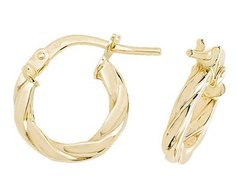 9ct Yellow Gold Flat Tube Twisted Hoop Earrings 8mm 10mm 15mm 20mm 25mm 30mm