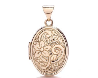 9ct Rose Gold Small Oval Shaped Locket With Embossed Floral Design
