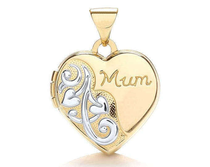 Small 9ct Yellow & White Gold Heart Shaped 2 Photo Mum Engraved Locket Hallmarked - Real 9K Gold