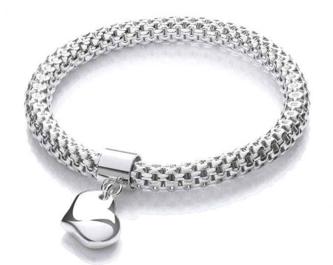 Ladies 925 Sterling Silver Mesh Link Bracelet With Heart Charm