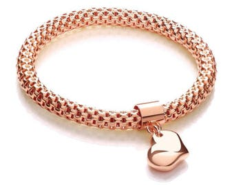 Rose Gold on Sterling Silver Mesh Link Bracelet With Heart Charm Hallmarked