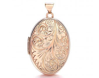 9ct Rose Gold 2 Photo Oval Shaped Locket With Ornate Scroll Embossed Design - Real 9K Gold