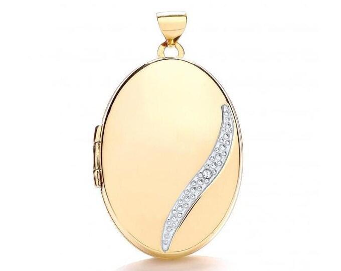 9ct Yellow Gold Single Diamond Oval 2 Photo Bubble Wave Locket 25x18mm