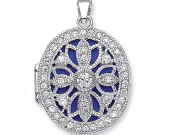 Vintage Filigree Design Sterling Silver Cz Oval Shaped  2 Photo Locket
