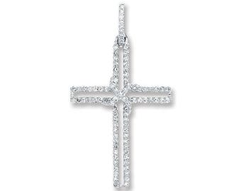 9ct White Gold 0.25ct Pave Diamond HSi Cross Pendant 25x12mm - Real 9K Gold