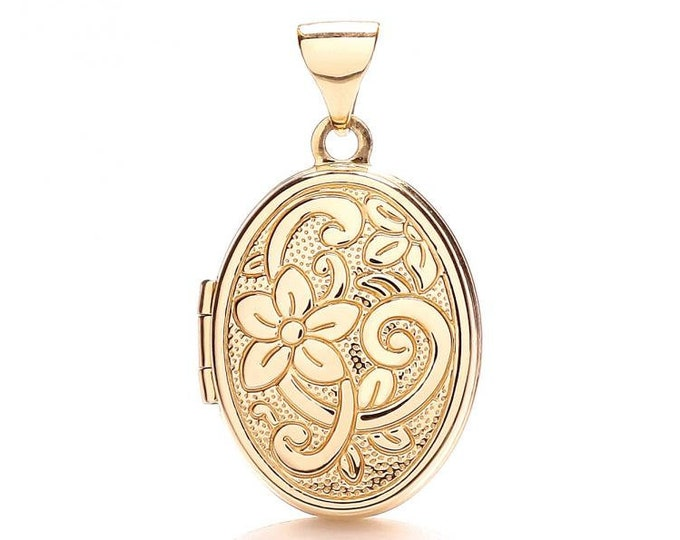 Small 9ct Yellow Gold Small Oval Shaped Locket With Embossed Floral Design - Real 9K Gold