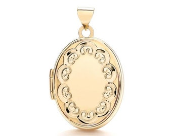 9ct Yellow Gold Scroll Border 2 Photo Oval Shaped Small Locket - Real 9K Gold