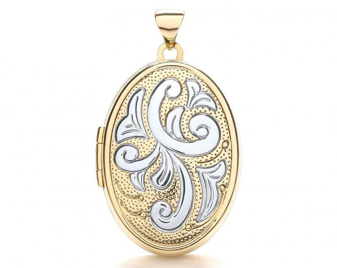 9ct 2 Colour Gold Oval Shaped 4 Photo Family Locket With Scroll Design