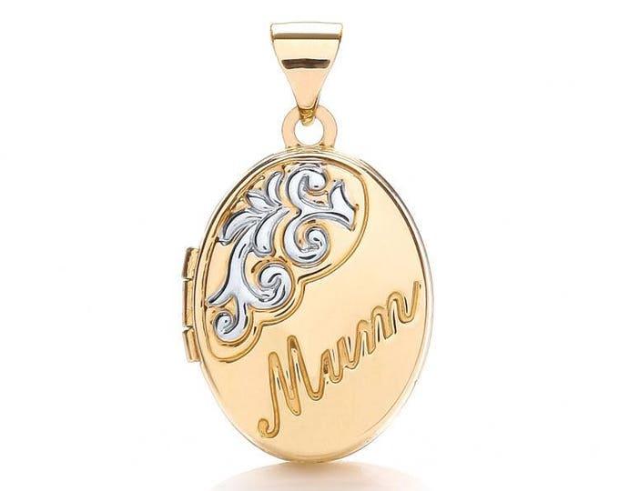 9ct 2 Colour Gold Oval Shaped 2 Photo Mum Engraved Locket Hallmarked