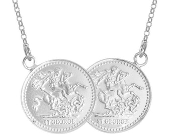 "St George Double Half Sovereign Coin 17"" Necklace 925 Sterling Silver"