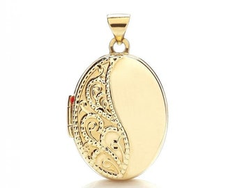 9ct Yellow Gold Small 15x12mm Oval Shaped Locket With Pretty Lace Embossed Design