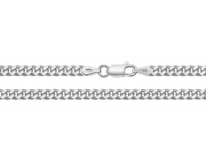 Close Curb Link Chain Necklace 925 Sterling Silver Heavy Weight 3mm Wide Link