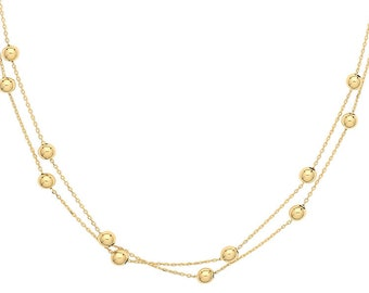 "Ladies Contemporary 9ct Yellow Gold 2 Strand Beaded 17"" Necklace - Solid 9K Gold"