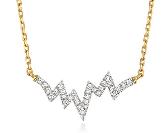 """9ct Yellow Gold 0.06ct Diamond Heartbeat 18"""" Necklace Hallmarked - Real 9K Gold"""