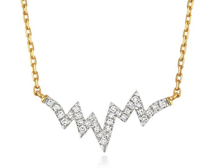 "9ct Yellow Gold 0.06ct Diamond Heartbeat 18"" Necklace Hallmarked"