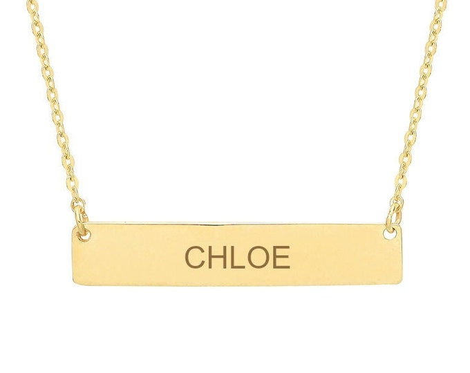 Personalised 9ct Gold Horizontal Bar Name Initial Pendant Necklace Hallmarked - Customised Engraved