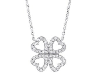"""9ct White Gold 0.18ct Diamond Lucky 4 Leaf Clover 18"""" Necklace Hallmarked - Real 9K Gold"""