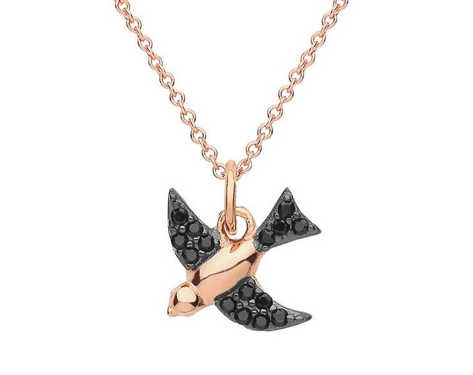 "Rose Gold Plated Silver & Black Cz Swallow Bird Charm Pendant on 16""-18"" Necklace"