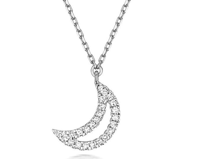 "9K White Gold 0.05ct Diamond Pave Crescent Moon Pendant on 16.5"" Necklace Hallmarked"