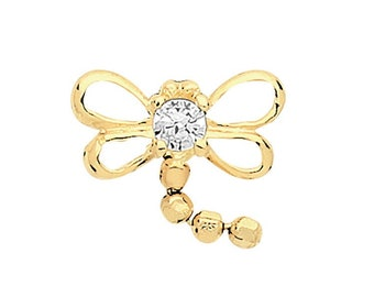 9ct Yellow Gold Cz Dragonfly Cartilage 6mm Post Screw Back Single Stud Earring - Real 9K Gold