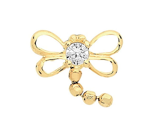 9ct Yellow Gold Cz Dragonfly Cartilage 6mm Post Screw Back Single Stud Earring