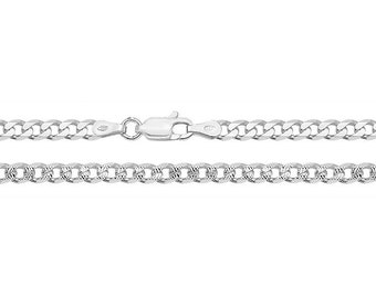 925 Sterling Silver 3mm Diamond Cut Pattern Curb Chain Necklaces - Choice of Lengths