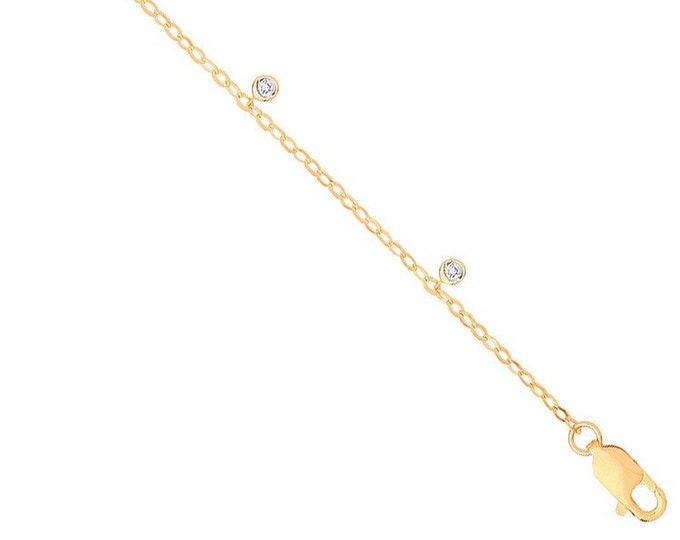 "Ladies 9K Yellow Gold Five Rubover Bezel Set Diamond 7"" Bracelet"