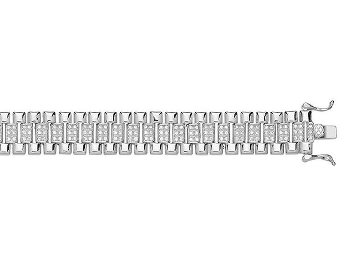 """Babies 925 Sterling Silver 6"""" Chunky Cz Watch Strap Link Bracelet Hallmarked"""