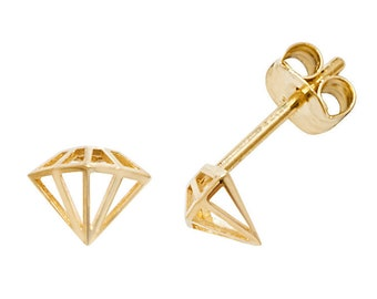 Small 9ct Yellow Gold 5mm Cut Out Diamond Design Stud Earrings