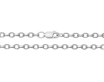 925 Sterling Silver Faceted Belcher or Rolo Chain Necklaces 2mm Wide