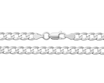 925 Sterling Silver 6mm Flat Curb Chain Necklaces - Choice of Lengths