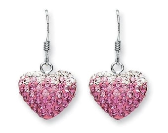 925 Sterling Silver Graduated Pink Cz Heart Fish Hook 25mm Drop Earrings