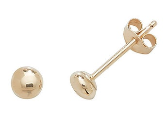 9ct Gold Plain Polished Button Stud Earrings 3mm 4mm 5mm 6mm 7mm 8mm