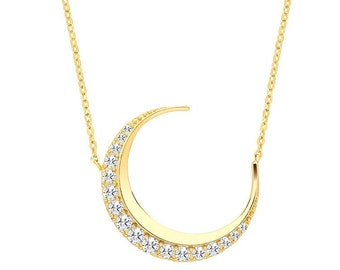 """9ct Yellow Gold Pave Cz Crescent Moon Pendant on Adjustable 16""""-18"""" Necklace- Real 9K Gold"""