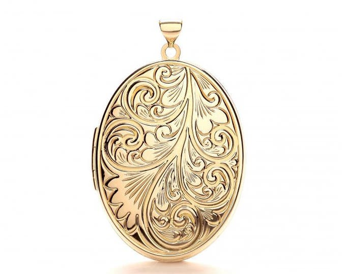 9ct Yellow Gold Oval Shaped 4 Photo Family Locket With Full Embossed Scroll