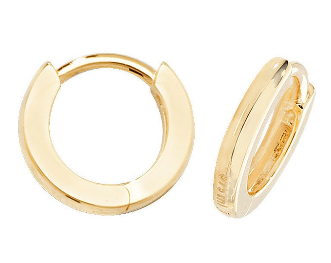 9ct Yellow Gold 10mm Plain D Shaped Hinged Hoop Earrings Hallmarked